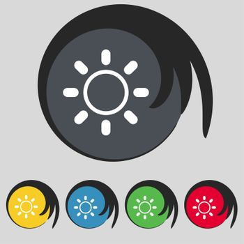 Brightness icon sign. Symbol on five colored buttons.