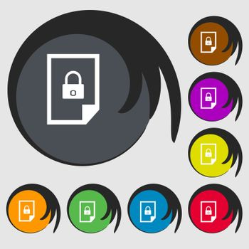 file unlocked icon sign. Symbols on eight colored buttons.