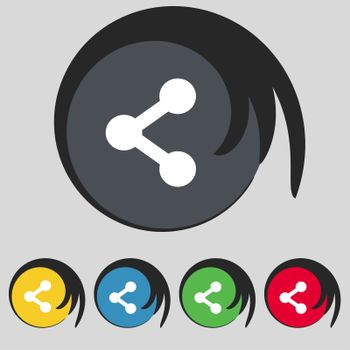 Share icon sign. Symbol on five colored buttons. illustration