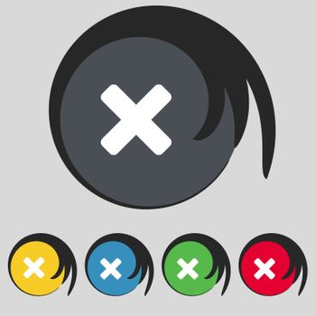 cancel, multiplication icon sign. Symbol on five colored buttons.