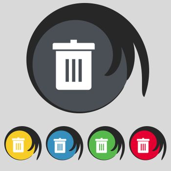 Recycle bin, Reuse or reduce icon sign. Symbol on five colored buttons.