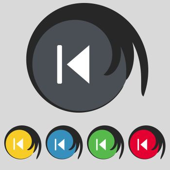 fast backward icon sign. Symbol on five colored buttons.