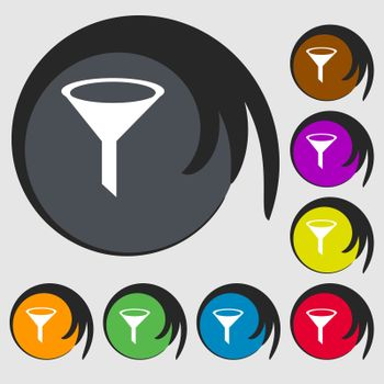 Funnel icon sign. Symbols on eight colored buttons.