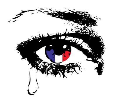Crying eye with flag of France