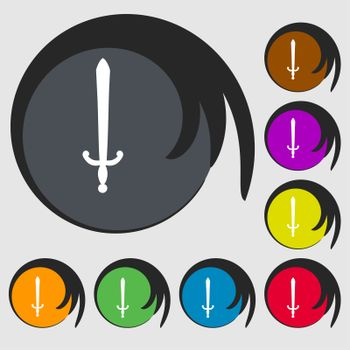 the sword icon sign. Symbol on eight colored buttons.