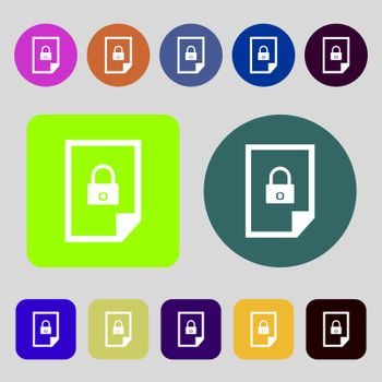 file unlocked icon sign. 12 colored buttons. Flat design.