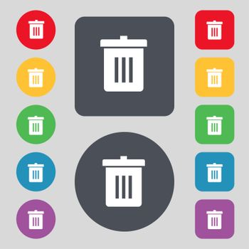 Recycle bin, Reuse or reduce icon sign. A set of 12 colored buttons. Flat design.