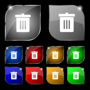 Recycle bin, Reuse or reduce icon sign. Set of ten colorful buttons with glare.