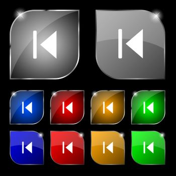 fast backward icon sign. Set of ten colorful buttons with glare.