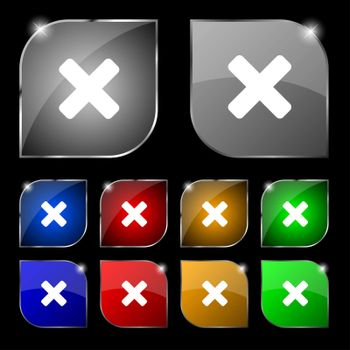cancel, multiplication icon sign. Set of ten colorful buttons with glare.