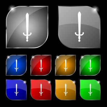 the sword icon sign. Set of ten colorful buttons with glare.