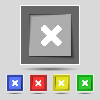 cancel, multiplication icon sign on the original five colored buttons.