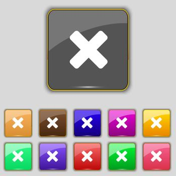 cancel, multiplication icon sign. Set with eleven colored buttons for your site.