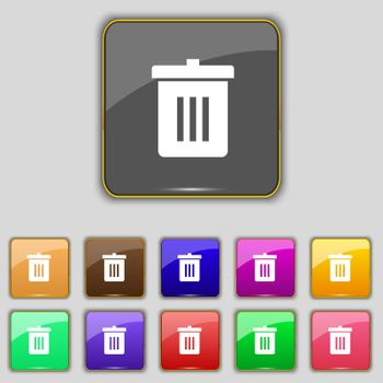 Recycle bin, Reuse or reduce icon sign. Set with eleven colored buttons for your site.
