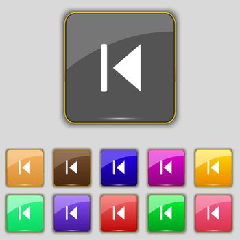fast backward icon sign. Set with eleven colored buttons for your site.