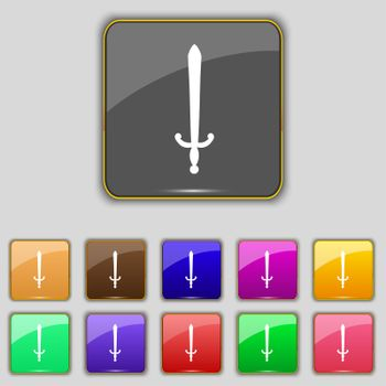the sword icon sign. Set with eleven colored buttons for your site.