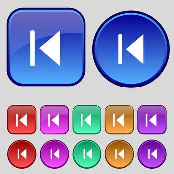 fast backward icon sign. A set of twelve vintage buttons for your design.