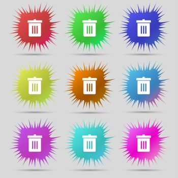 Recycle bin, Reuse or reduce icon sign. A set of nine original needle buttons.