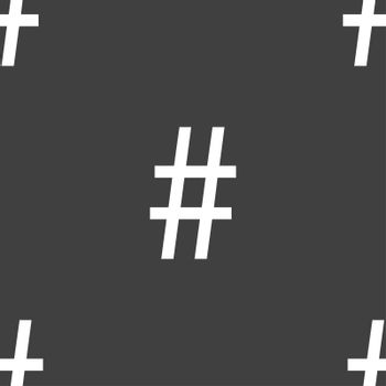 hash tag icon. Seamless pattern on a gray background.