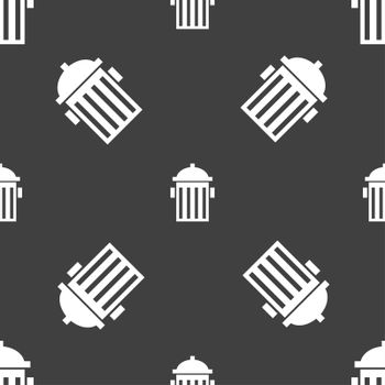 fire hydrant icon sign. Seamless pattern on a gray background.