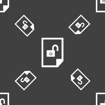 file unlocked icon sign. Seamless pattern on a gray background.