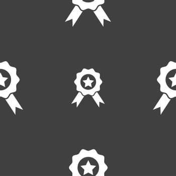 Award, Medal of Honor icon sign. Seamless pattern on a gray background.