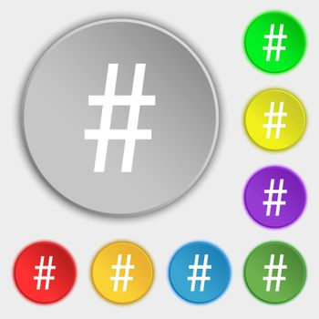 hash tag icon. Symbols on eight flat buttons.