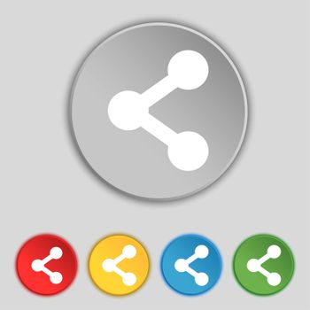Share icon sign. Symbol on five flat buttons. illustration