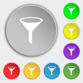 Funnel icon sign. Symbols on eight flat buttons.