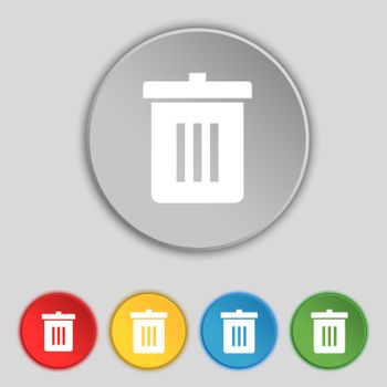 Recycle bin, Reuse or reduce icon sign. Symbol on five flat buttons.