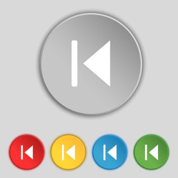 fast backward icon sign. Symbol on five flat buttons.