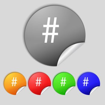 hash tag icon. Set colourful buttons sign.