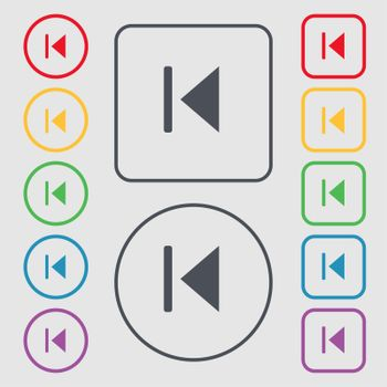fast backward icon sign. symbol on the Round and square buttons with frame.