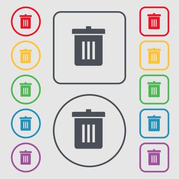 Recycle bin, Reuse or reduce icon sign. symbol on the Round and square buttons with frame.