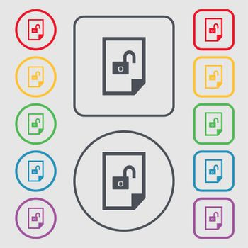 file unlocked icon sign. Symbols on the Round and square buttons with frame.