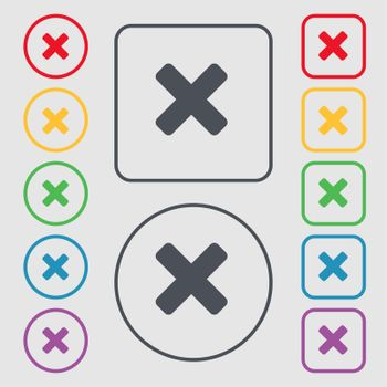 cancel, multiplication icon sign. symbol on the Round and square buttons with frame.