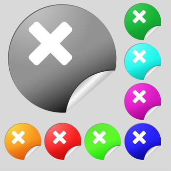 cancel, multiplication icon sign. Set of eight multi-colored round buttons, stickers.