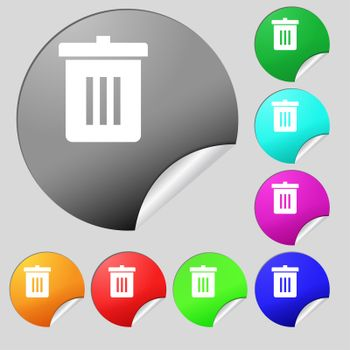 Recycle bin, Reuse or reduce icon sign. Set of eight multi-colored round buttons, stickers.