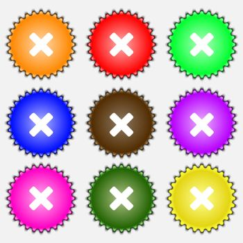 cancel, multiplication icon sign. A set of nine different colored labels.