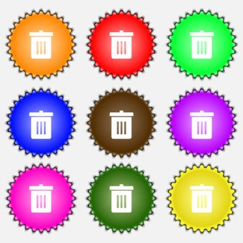 Recycle bin, Reuse or reduce icon sign. A set of nine different colored labels.
