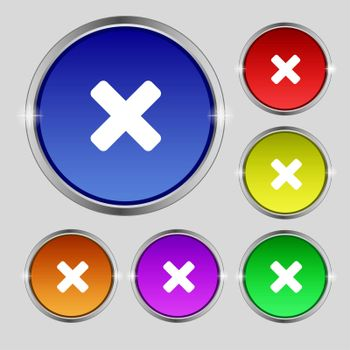 cancel, multiplication icon sign. Round symbol on bright colourful buttons.