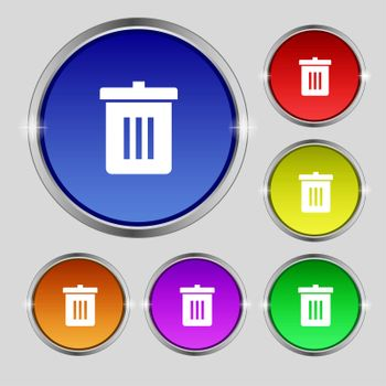 Recycle bin, Reuse or reduce icon sign. Round symbol on bright colourful buttons.