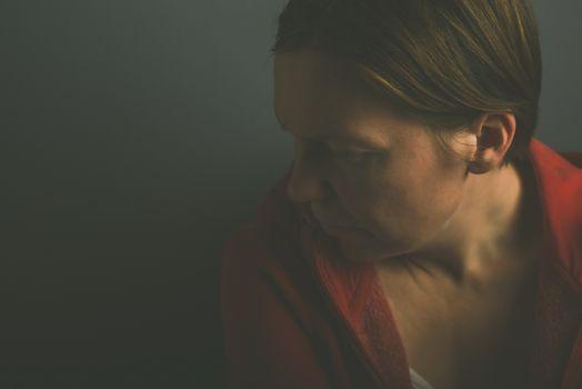 Depressive pessimistic woman portrait