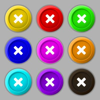 cancel, multiplication icon sign. symbol on nine round colourful buttons.