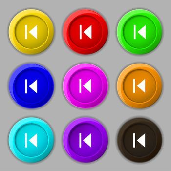 fast backward icon sign. symbol on nine round colourful buttons.