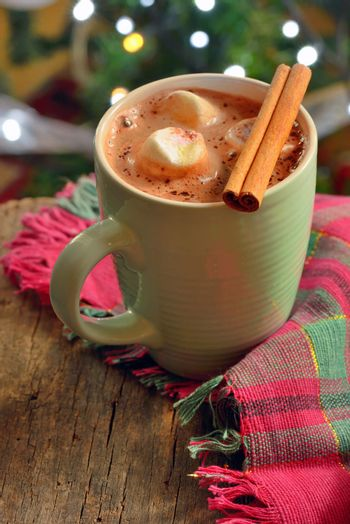 Hot chocolate with marshmallows in winter time
