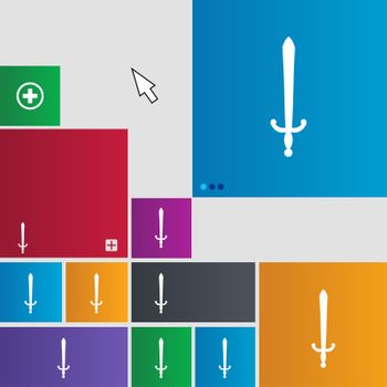 the sword icon sign. buttons. Modern interface website buttons with cursor pointer.