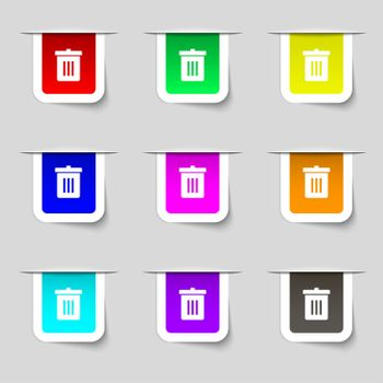 Recycle bin, Reuse or reduce icon sign. Set of multicolored modern labels for your design.