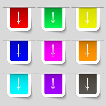 the sword icon sign. Set of multicolored modern labels for your design.