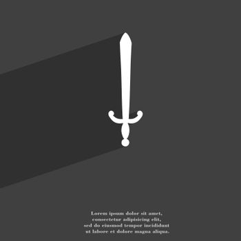 the sword icon symbol Flat modern web design with long shadow and space for your text.